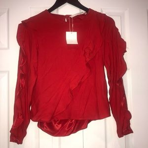 NEW ZARA TRF collection Red Long Sleeve top Sz S